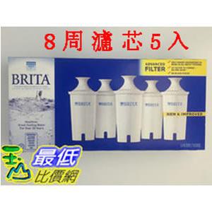 [促銷到6月30 圓形8周濾芯] Brita 濾水壺濾心/濾芯 (5入) (和舊款相容可過濾151公升)