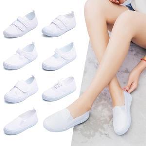 帆布鞋兒童小白鞋學生童鞋帆布鞋白球鞋兒童白布鞋男童女童白色運動鞋 嬡孕哺