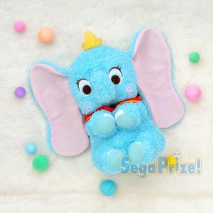 日本SEGA PLAZA 景品 迪士尼  捲捲絨毛布面小飛象絨毛娃娃_SE31372