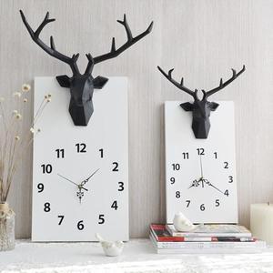 裝飾壁鐘創意鹿頭靜音時鐘掛鐘現代簡約掛表客廳臥室裝飾鐘表藝術招財牆鐘 小明同學 NMS