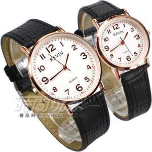 KEVIN 情人對錶 數字時刻簡約時尚腕錶 學院風 黑x玫瑰金 數字錶 KV3068黑大+KV3068黑小