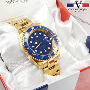 valentino coupeau 范倫鐵諾 夜光時刻不銹鋼防水男錶 潛水錶 水鬼 石英錶 金x藍 V61589KG金藍