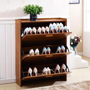 超薄鞋櫃簡約現代門廳櫃柚木色大容量免漆簡易翻斗鞋櫃百搭wy【元氣少女】