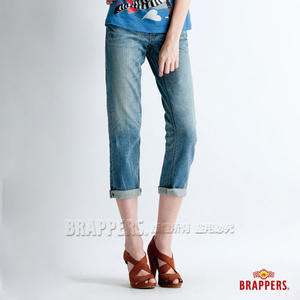 BRAPPERS 女款 Boy Friend Jeans系列-彈性七分反摺褲-淺藍