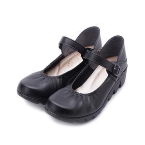 FIRST CONTACT 鋸齒底楔形娃娃鞋 黑 39056 女鞋 鞋全家福