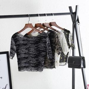 蕾絲上衣 夏女裝半身透明短袖黑色冰絲網紗透視打底衫內搭包邊蕾絲上衣