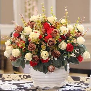 假花仿真玫瑰花 束絹花客廳擺設裝飾塑料花盆栽干花 BF10896『男神港灣』