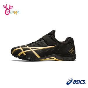 ASICS足球鞋 兒童足球鞋 室內足球鞋 男童女童足球鞋 慢跑田徑鞋 亞瑟士 LAZERBEAM B9177#黑金