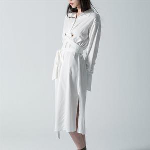SISJEANS-天絲棉綁帶長版洋裝【1819500201】