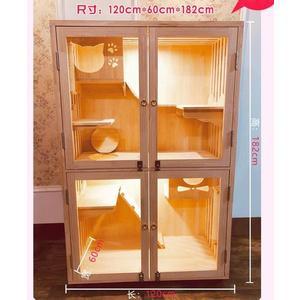 Z-實木貓櫃特大號豪華雙層貓籠子貓別墅房子貓窩貓舍公寓帶玻璃【17mm加厚實木板】