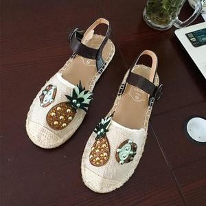 chic鞋子復古涼鞋女學生百搭韓版潮平底包頭草編漁夫鞋  沸點奇跡