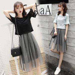 大韓訂製兩件式洋裝正韓網紗連衣裙短袖寬上衣內搭吊帶襯裙套裝裙