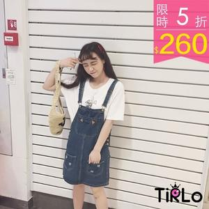 背心裙 -Tirlo-小清新微磨破牛仔A字背帶裙-單一/SML