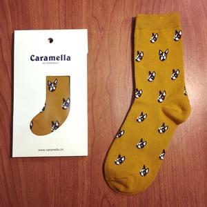 日本Caramella大頭狗圖案中筒襪♥️ 短襪子 法鬥狗狗 復古搭配 阿華有事嗎