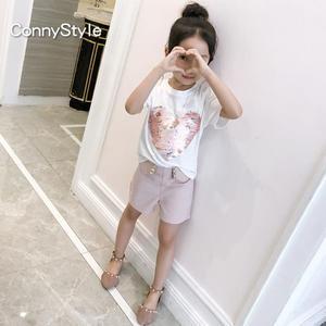 女童短袖t恤夏季中大童翻轉亮片體恤2019新款童裝潮韓版兒童上衣