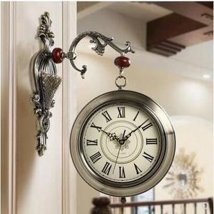 歐式大號雙面掛鐘客廳復古掛錶大氣石英鐘錶靜音家用時鐘