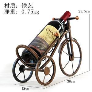 [超豐國際]歐式鐵藝三輪車模型酒架擺件創意客廳酒柜裝飾品葡萄1入