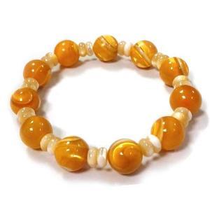 黃金硨磲圓珠彈性手環