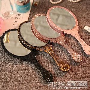 創意復古花紋手柄化妝鏡化妝鏡子便攜隨身花邊鏡手拿手持鏡『新佰數位屋』