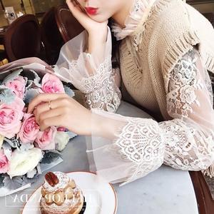 蕾絲打底衣  薄款鉤花鏤空內搭套頭網紗上衣長袖立領蕾絲衫打底衫