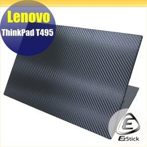 【Ezstick】Lenovo ThinkPad T495 Carbon黑色立體紋機身貼 DIY包膜