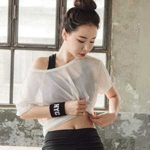 夏季健身運動T恤女韓國寬松跑步短袖速干網紗鏤空跳操瑜伽服罩衫