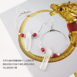 【粉紅堂飾品】天然水晶柱原礦 大圈圈耳環 *金色 / 銀色*