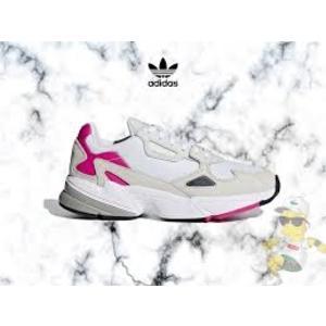 KUMO SHOES-現貨Adidas 復古慢跑鞋 Falcon W 白 灰 粉紅 老爹鞋 女鞋 CM8537