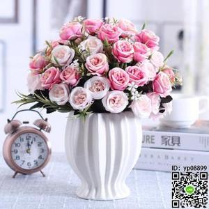 仿真盆栽 仿真玫瑰花束假花絹花干花藝塑料客廳擺設餐桌室內擺件裝飾花盆栽T