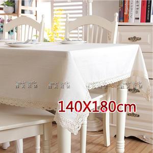 棉麻桌巾-亞麻白【蕾絲花邊】140X180cm|素色桌布 地中海風格 浪漫傢飾 餐桌布 書桌布[微笑城堡]