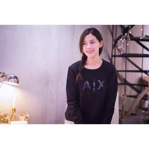 【蟹老闆】AX ARMANI EXCHANGE 女大學T 黑膠印字 黑色