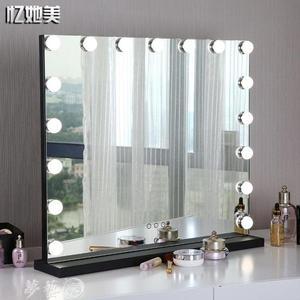 LED化妝鏡 大號台式led化妝鏡帶燈泡充電高清梳妝鏡燈臥室網紅補妝補光鏡子   MKS夢藝家