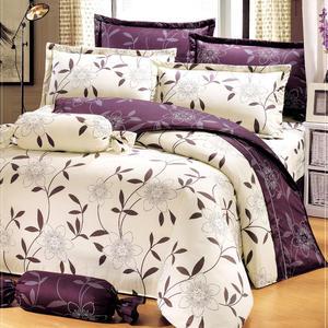 台灣製-花香樂譜 單人(3.5x6.2呎)五件式鋪棉床罩組-米色[艾莉絲-貝倫]T5H-KF2539-S