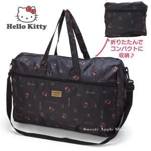 日本限定 三麗鷗 HELLO KITTY 凱蒂貓 折疊收納式 旅行包 / 收納袋 / 旅行袋 (可跨放行李箱上)