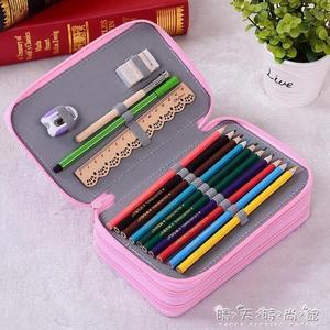 韓國震防摔學生美術筆簾彩色鉛筆袋 素描鉛筆袋水彩筆52孔 晴天時尚館