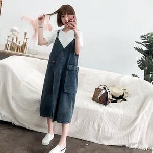 初心 韓國洋裝 【D8813】 中大尺碼 牛仔 吊帶裙 牛仔裙 背心裙洋裝 V領