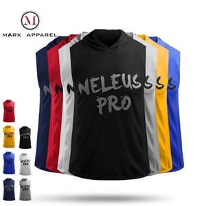運動連帽寬鬆健身服 跑步 運動 休閑 透氣 彈力 健身 無袖 背心 字母 S5037 MARK APPAREL 馬克體育