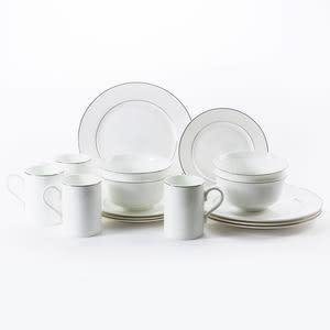 HOLA 緻銀骨瓷16件杯碗盤組 線圈 可適用微波爐及洗碗機