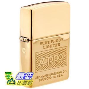 [104 美國直購] Zippo Logo High Polish Brass Lighter (Gold, 5 1/2x3 1/2-cm) 打火機