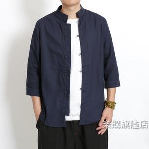 唐裝中國風男裝復古盤扣七分袖襯衫男棉麻立領唐裝亞麻襯衣男上衣L-5XL3色