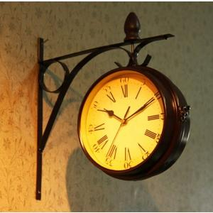 【Love Shop】歐式鐵工藝 復古雙面掛鐘/時鐘/靜音//田園/鄉村/掛鐘/ 歐式 紐約鐘 居家飾品