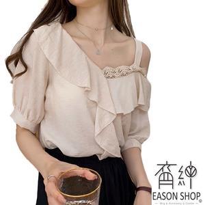 EASON SHOP(GW2372)韓版一字領斜邊露肩蕾絲拼接薄款荷葉邊短袖七分袖襯衫女上衣服修身顯瘦內搭衫