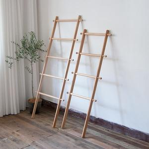 北歐實木落地日式小梯子臥室浴室靠牆毛巾木頭簡約置物衣帽掛衣架WD 電購3C