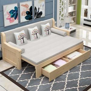 實木沙發床可折疊推拉客廳單人1.5小戶型多功能雙人1.8坐臥兩用床