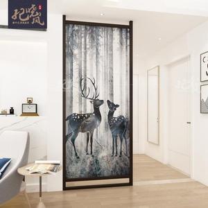 屏風 新中式屏風隔斷客廳現代簡約布藝玄關臥室頂天立地實木小戶型座屏