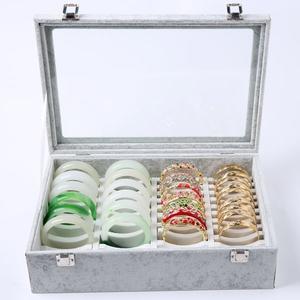 40位手鐲盒 珠寶首飾盒子手鐲子收納展示金銀玉首飾箱 玻璃帶蓋 三角衣櫃
