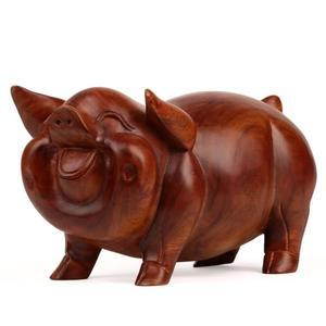 紅木雕刻工藝品 實木質東陽木雕豬風水擺件 花梨木12十二生肖豬30