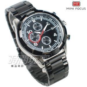 MINI FOCUS 型男賽車錶 三眼多功能 計時碼錶 日期視窗 防水手錶 學生錶 男錶 MF0198黑