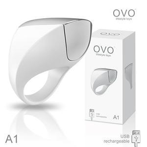 震動環 情趣用品德國OVO A1 時尚男性 矽膠靜音時尚震動環 充電式 白色