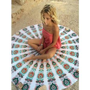 K.J時尚(WUNa07)2016新款歐美棉圓形沙灘布墊沙灘巾旅游地墊裹巾圍巾